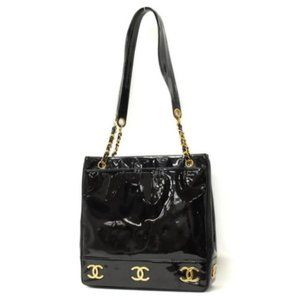 Chanel Black Triple CC Logo Patent Chain Tote